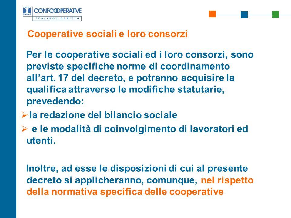 Cooperative sociali e loro consorzi
