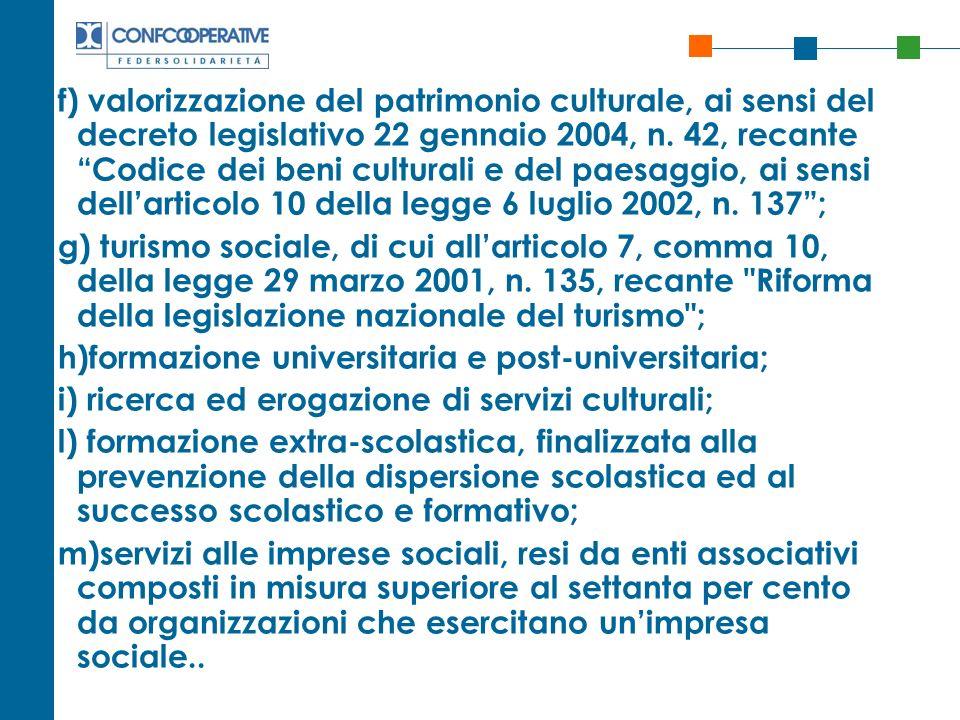 f) valorizzazione del patrimonio culturale, ai sensi del decreto legislativo 22 gennaio 2004, n. 42, recante Codice dei beni culturali e del paesaggio, ai sensi dell'articolo 10 della legge 6 luglio 2002, n. 137 ;