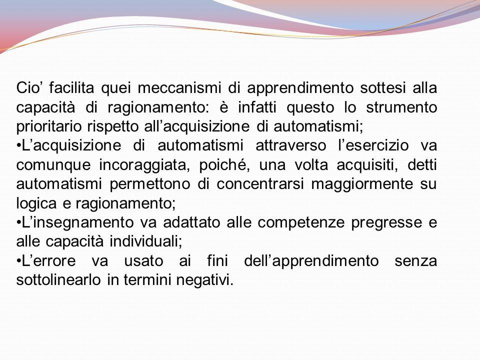 Cio' facilita quei meccanismi di apprendimento sottesi alla capacità di ragionamento: è infatti questo lo strumento prioritario rispetto all'acquisizione di automatismi;
