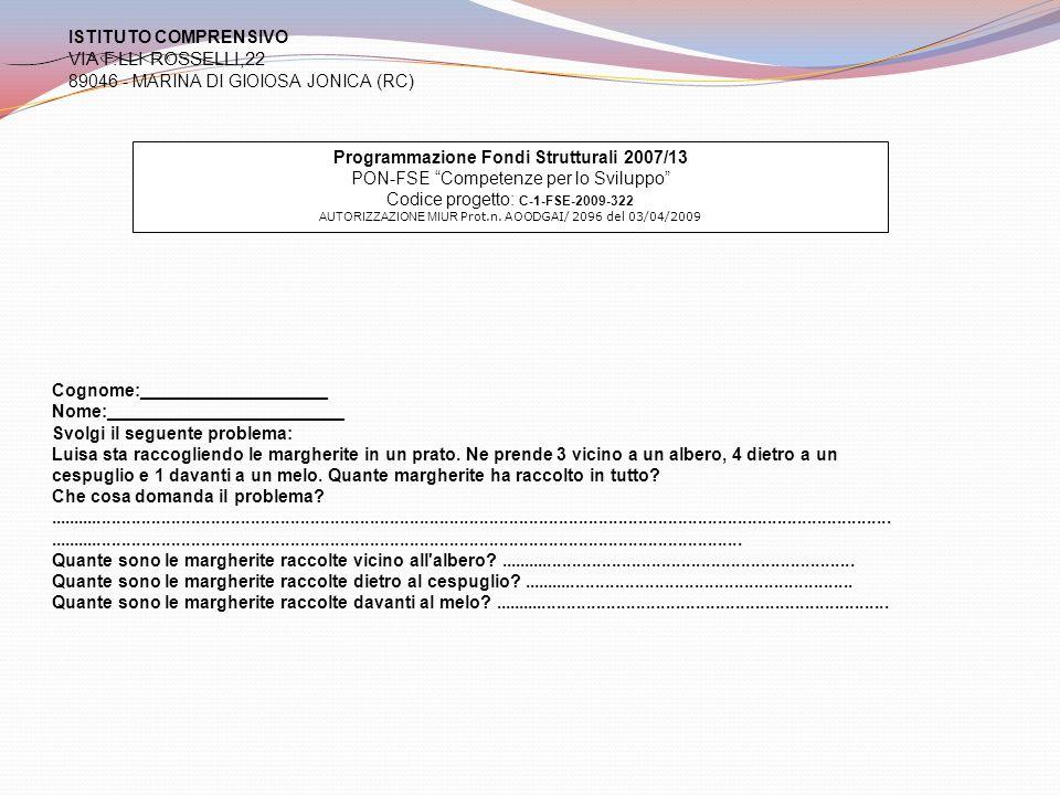 VIA F.LLI ROSSELLI,22 ISTITUTO COMPRENSIVO