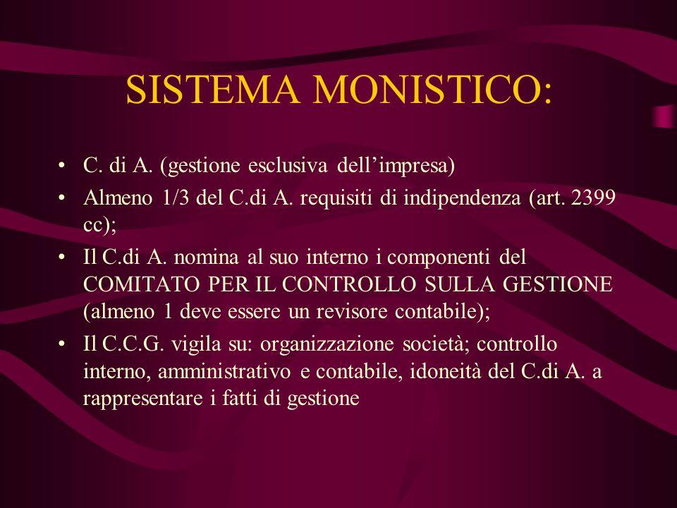 SISTEMA MONISTICO: C. di A. (gestione esclusiva dell'impresa)