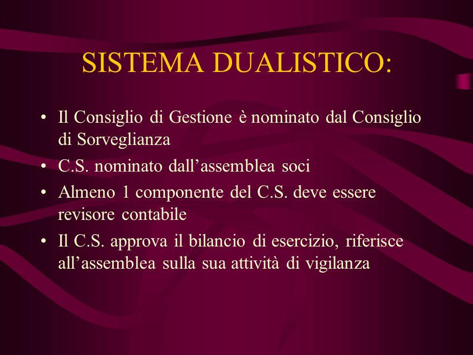 SISTEMA DUALISTICO: Il Consiglio di Gestione è nominato dal Consiglio di Sorveglianza. C.S. nominato dall'assemblea soci.