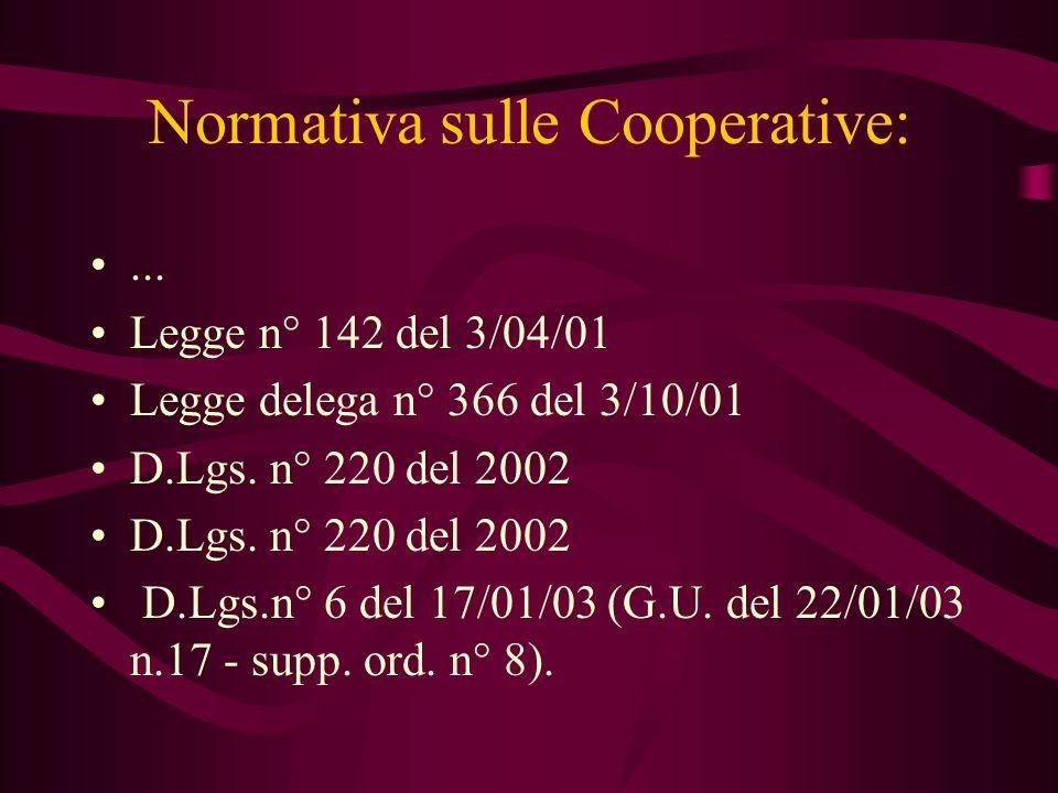 Normativa sulle Cooperative: