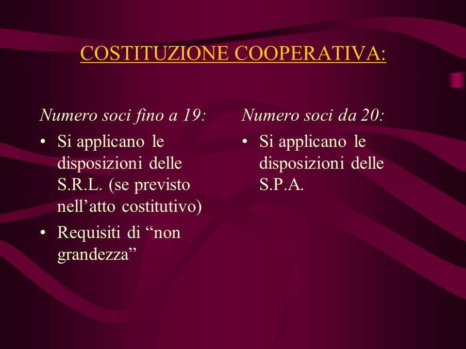 COSTITUZIONE COOPERATIVA: