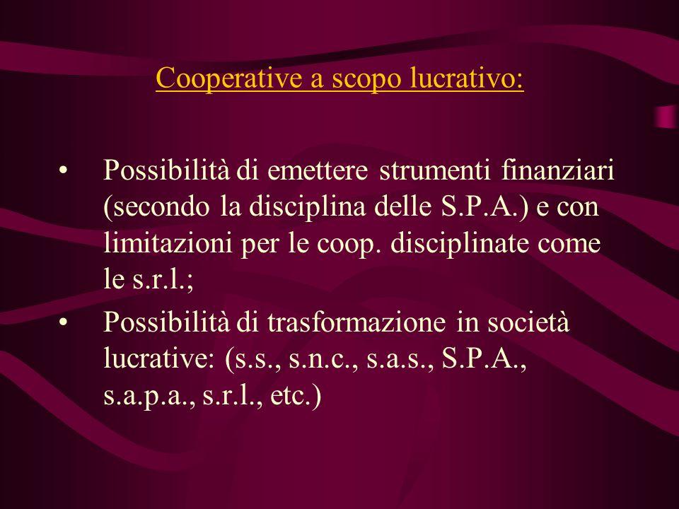 Cooperative a scopo lucrativo: