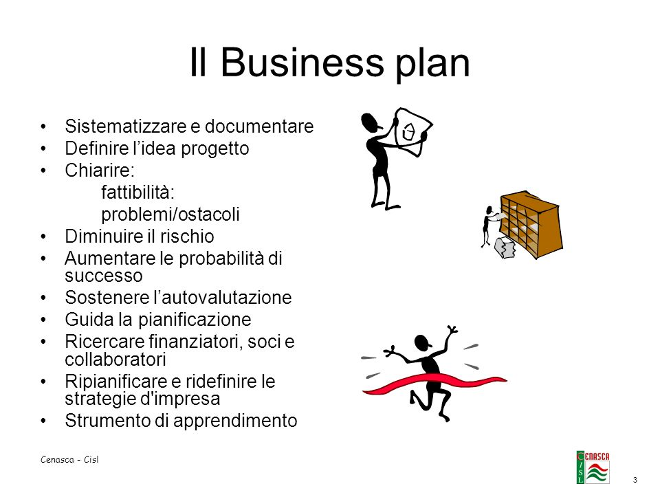 Il Business plan Sistematizzare e documentare Definire l'idea progetto