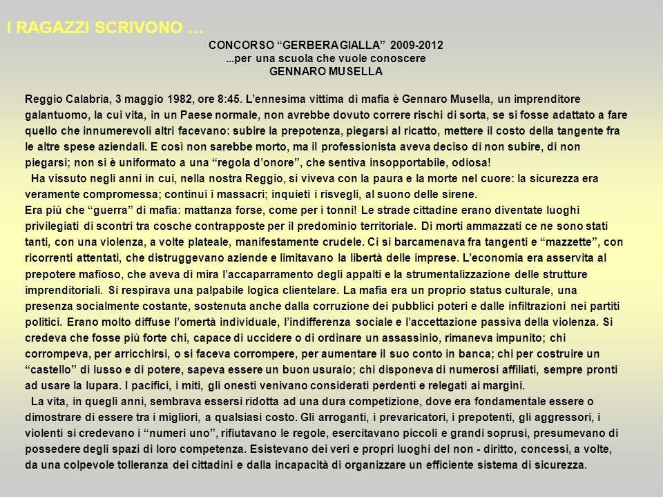 I RAGAZZI SCRIVONO … CONCORSO GERBERA GIALLA 2009-2012