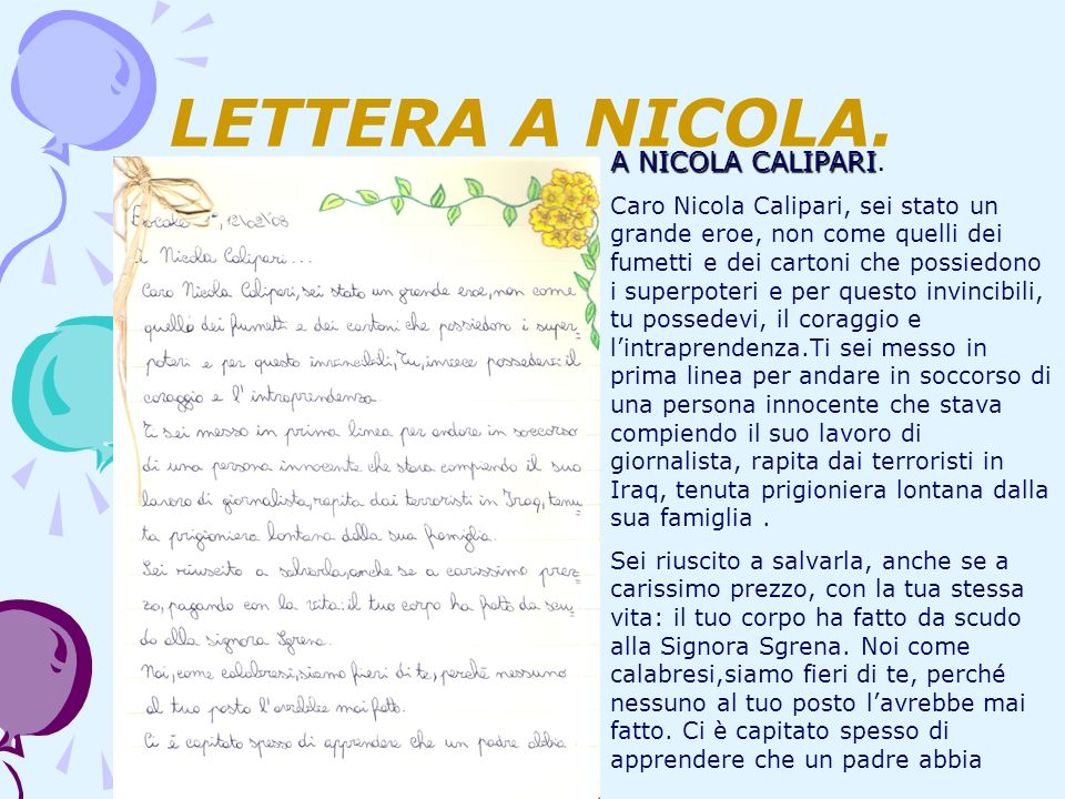LETTERA A NICOLA. A NICOLA CALIPARI.