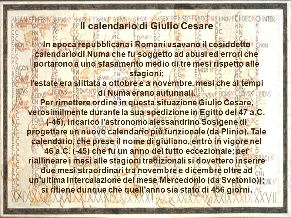 Il calendario di Giulio Cesare