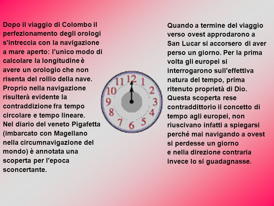 Dopo il viaggio di Colombo il perfezionamento degli orologi s intreccia con la navigazione a mare aperto: l unico modo di calcolare la longitudine è avere un orologio che non risenta del rollio della nave.