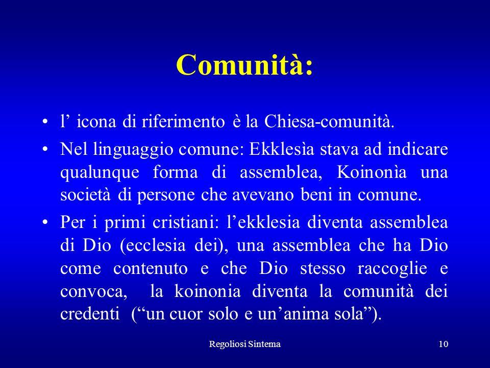 Comunità: l' icona di riferimento è la Chiesa-comunità.