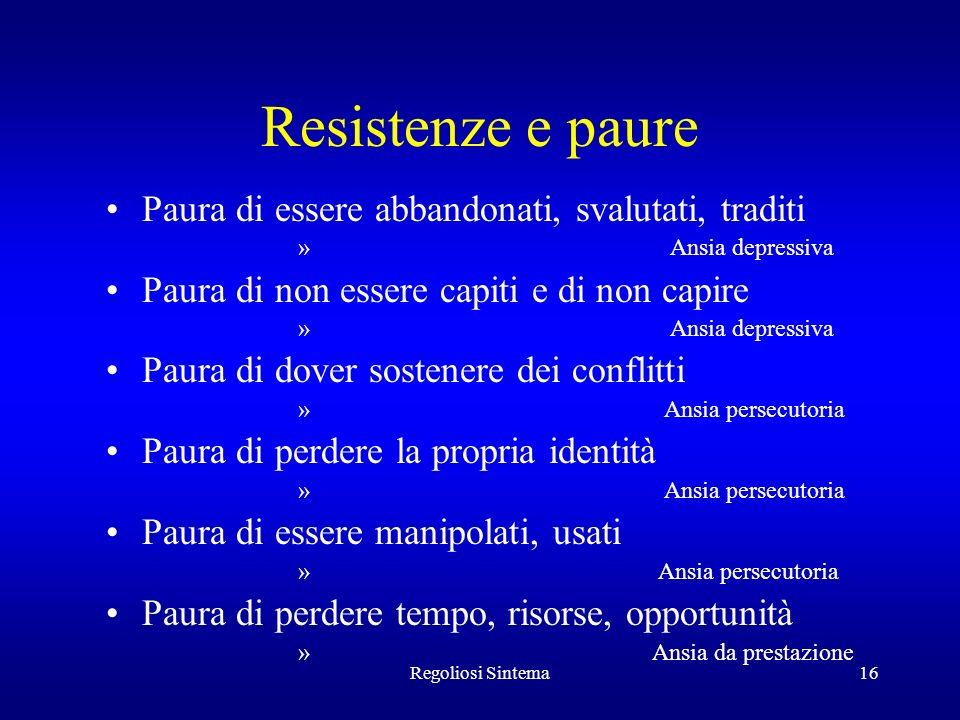 Resistenze e paure Paura di essere abbandonati, svalutati, traditi