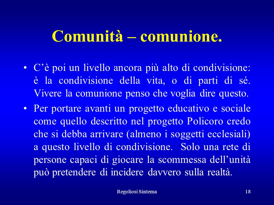 Comunità – comunione.