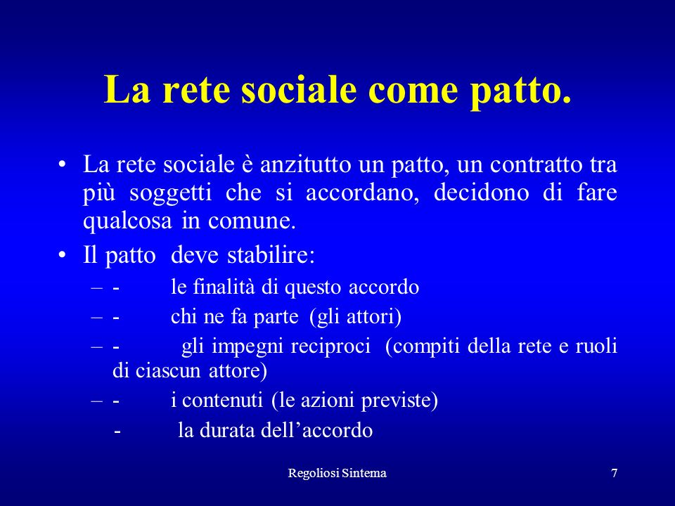 La rete sociale come patto.