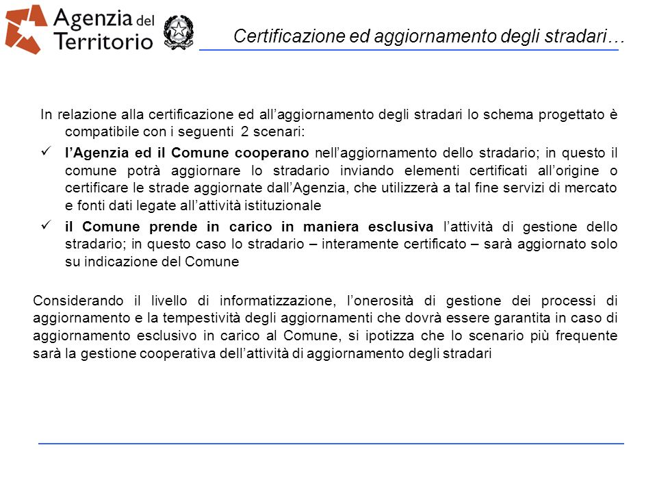 Certificazione ed aggiornamento degli stradari…