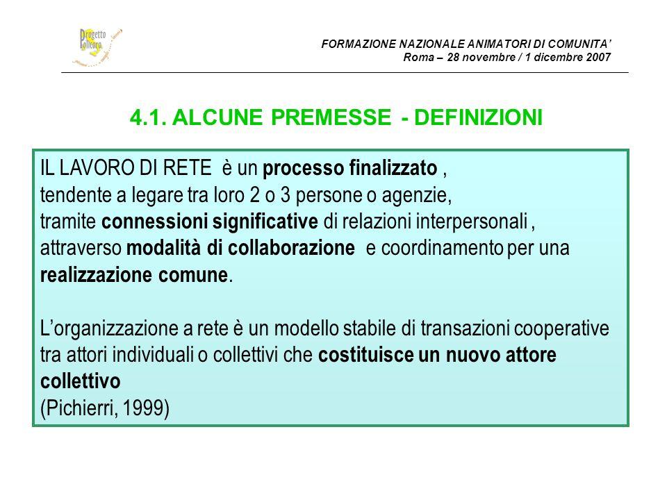 4.1. ALCUNE PREMESSE - DEFINIZIONI