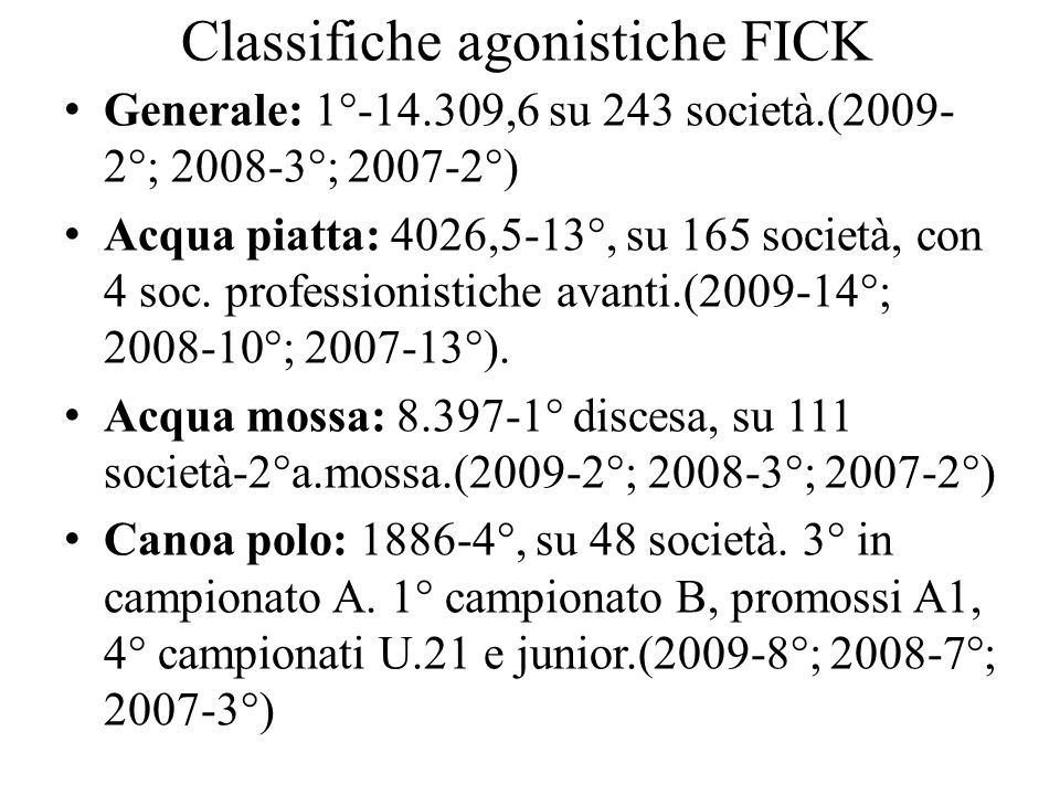 Classifiche agonistiche FICK