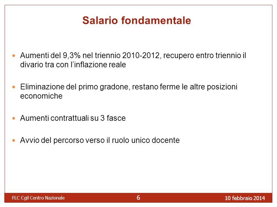 Salario fondamentale Aumenti del 9,3% nel triennio 2010-2012, recupero entro triennio il divario tra con l'inflazione reale.