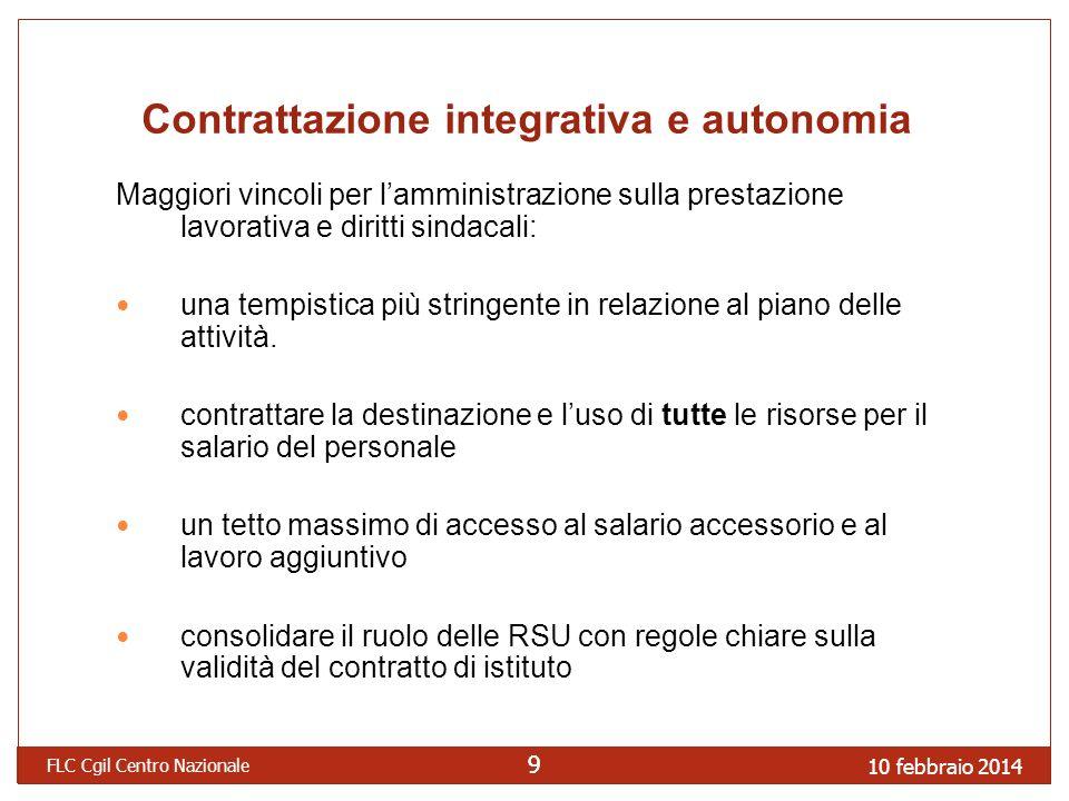 Contrattazione integrativa e autonomia