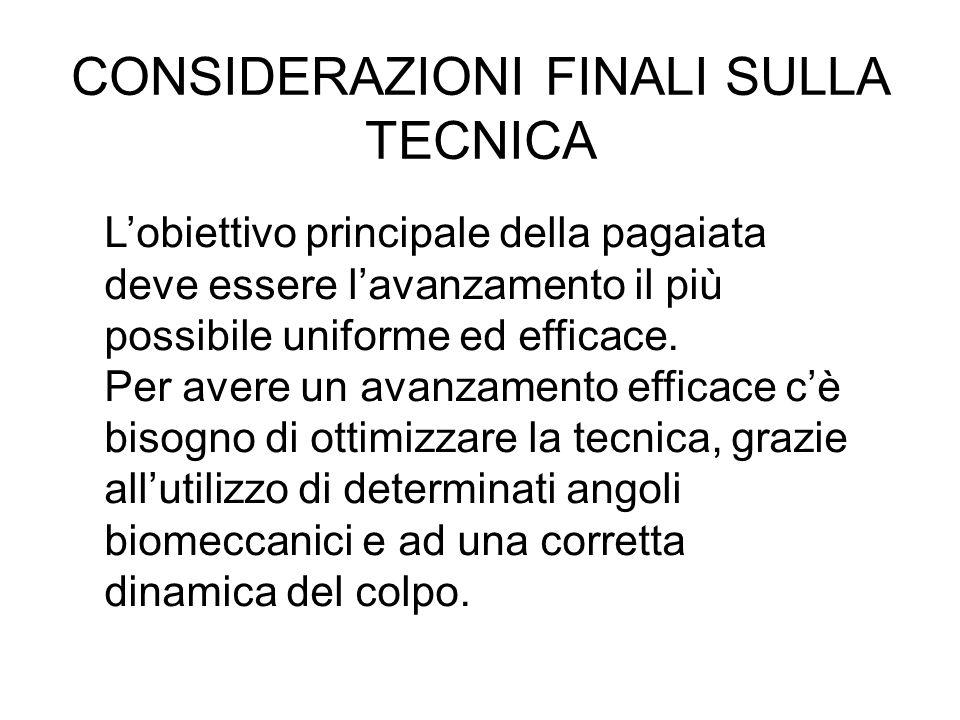 CONSIDERAZIONI FINALI SULLA TECNICA