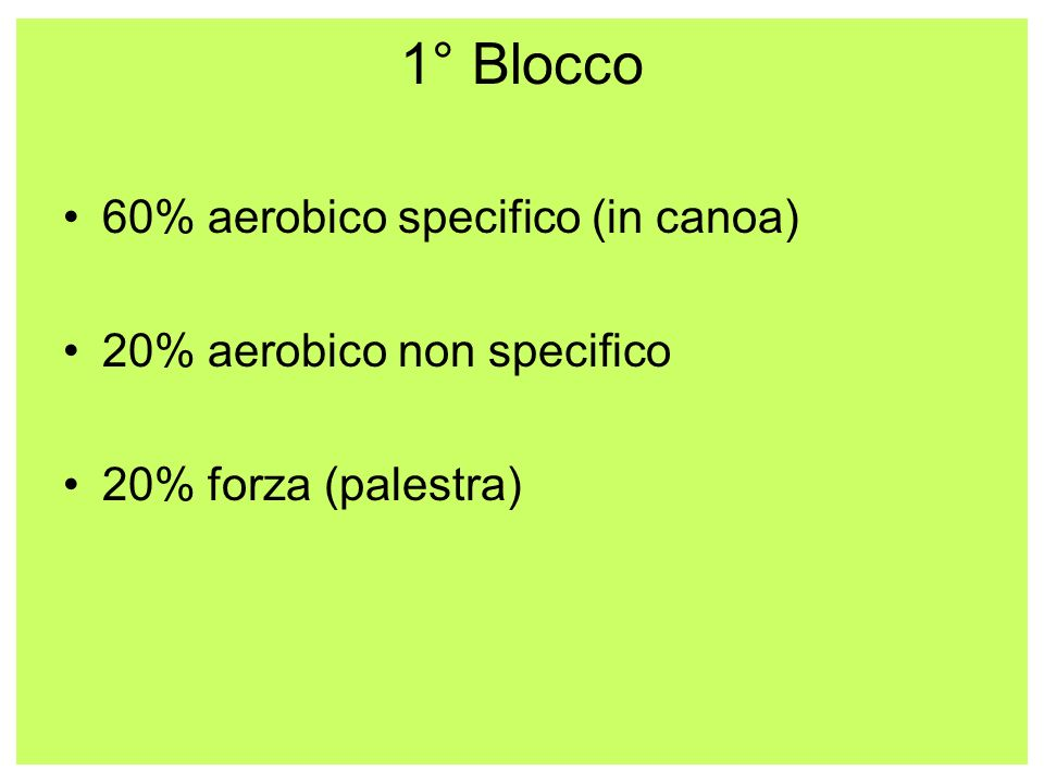1° Blocco 60% aerobico specifico (in canoa) 20% aerobico non specifico