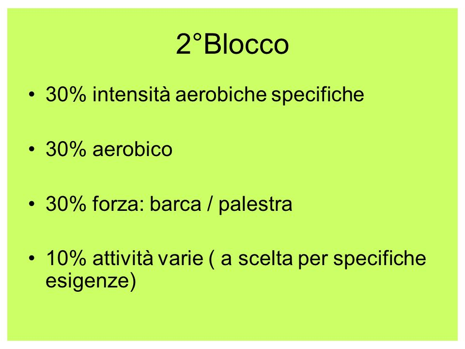 2°Blocco 30% intensità aerobiche specifiche 30% aerobico