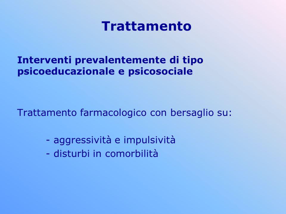 Trattamento Interventi prevalentemente di tipo psicoeducazionale e psicosociale. Trattamento farmacologico con bersaglio su: