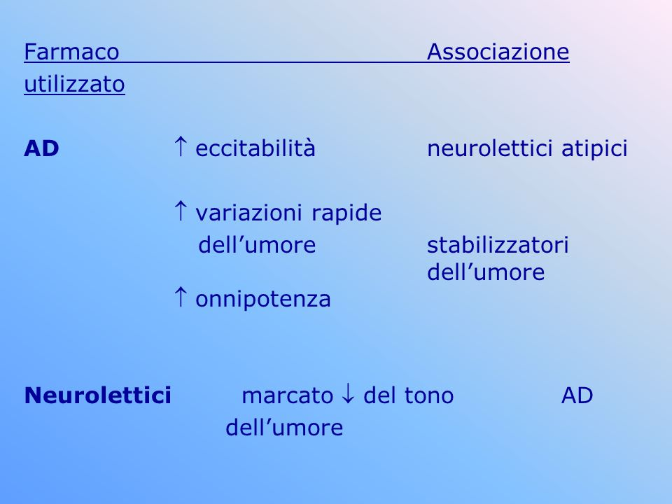 Farmaco Associazione utilizzato. AD  eccitabilità neurolettici atipici.  variazioni rapide.