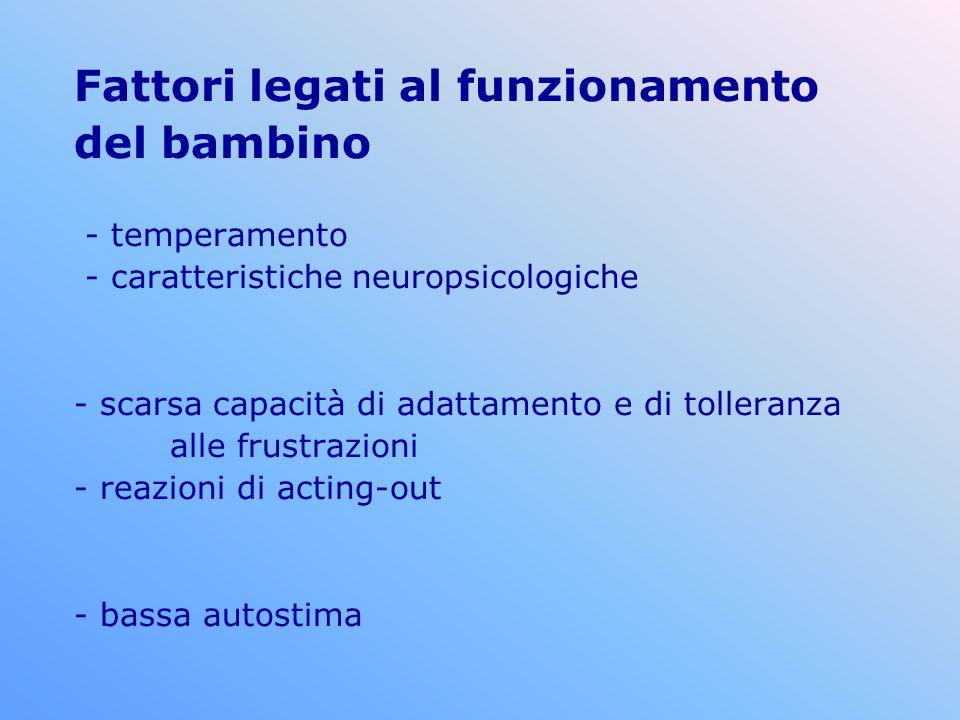 Fattori legati al funzionamento del bambino - temperamento - caratteristiche neuropsicologiche - scarsa capacità di adattamento e di tolleranza alle frustrazioni - reazioni di acting-out - bassa autostima