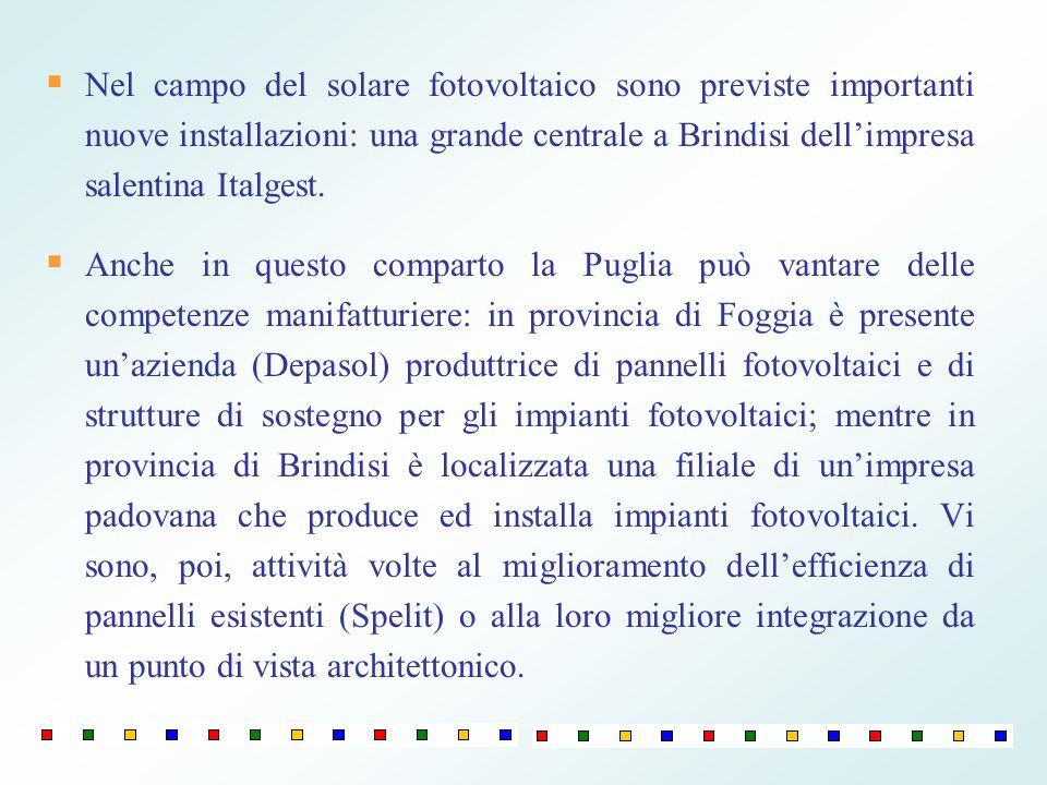 Nel campo del solare fotovoltaico sono previste importanti nuove installazioni: una grande centrale a Brindisi dell'impresa salentina Italgest.