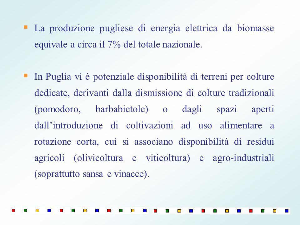 La produzione pugliese di energia elettrica da biomasse equivale a circa il 7% del totale nazionale.