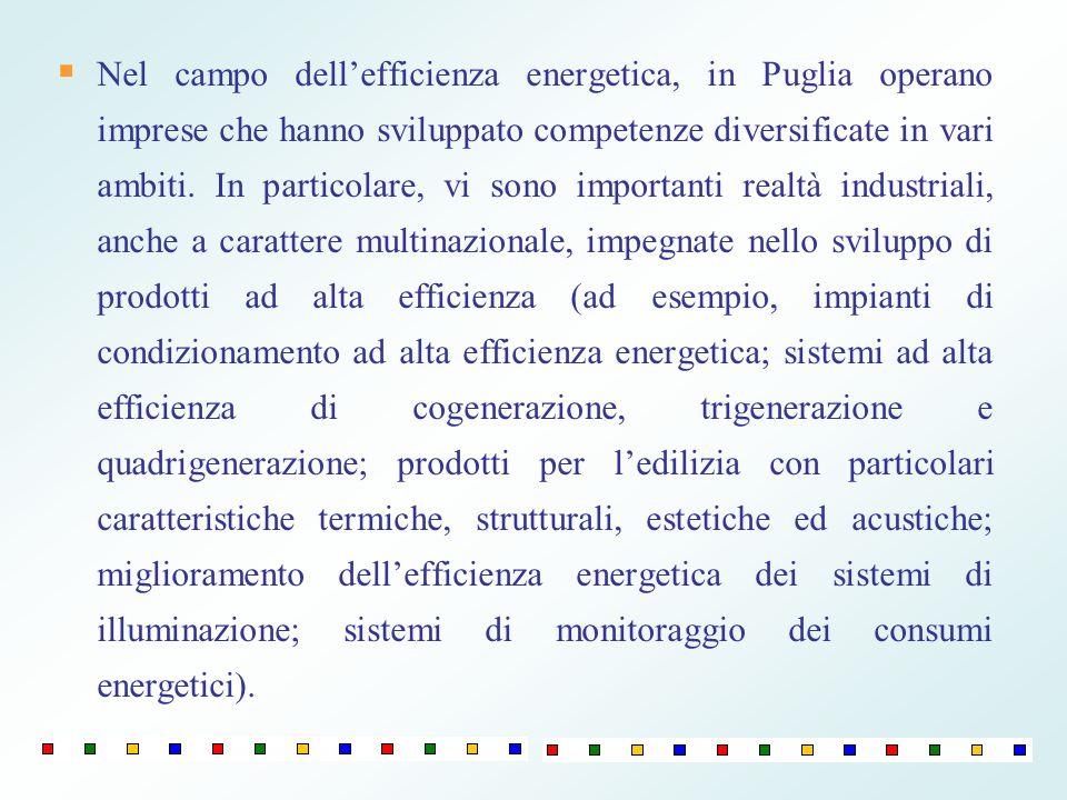 Nel campo dell'efficienza energetica, in Puglia operano imprese che hanno sviluppato competenze diversificate in vari ambiti.