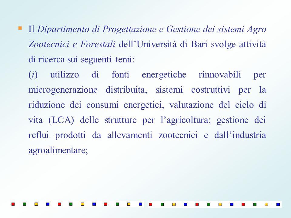 Il Dipartimento di Progettazione e Gestione dei sistemi Agro Zootecnici e Forestali dell'Università di Bari svolge attività di ricerca sui seguenti temi: