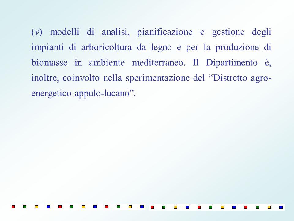 (v) modelli di analisi, pianificazione e gestione degli impianti di arboricoltura da legno e per la produzione di biomasse in ambiente mediterraneo.