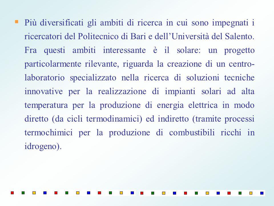 Più diversificati gli ambiti di ricerca in cui sono impegnati i ricercatori del Politecnico di Bari e dell'Università del Salento.