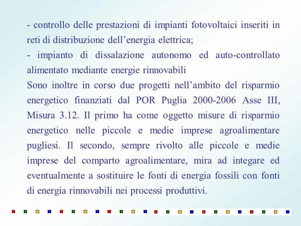 - controllo delle prestazioni di impianti fotovoltaici inseriti in reti di distribuzione dell'energia elettrica;