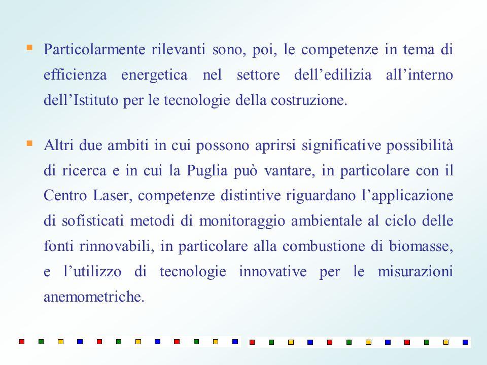 Particolarmente rilevanti sono, poi, le competenze in tema di efficienza energetica nel settore dell'edilizia all'interno dell'Istituto per le tecnologie della costruzione.