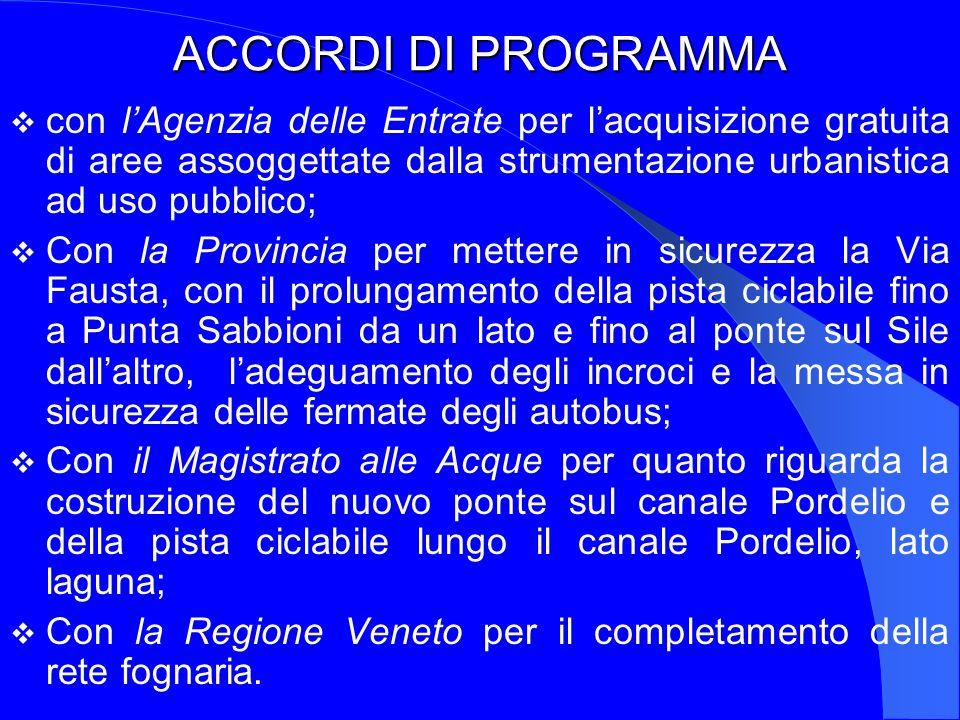 ACCORDI DI PROGRAMMA con l'Agenzia delle Entrate per l'acquisizione gratuita di aree assoggettate dalla strumentazione urbanistica ad uso pubblico;