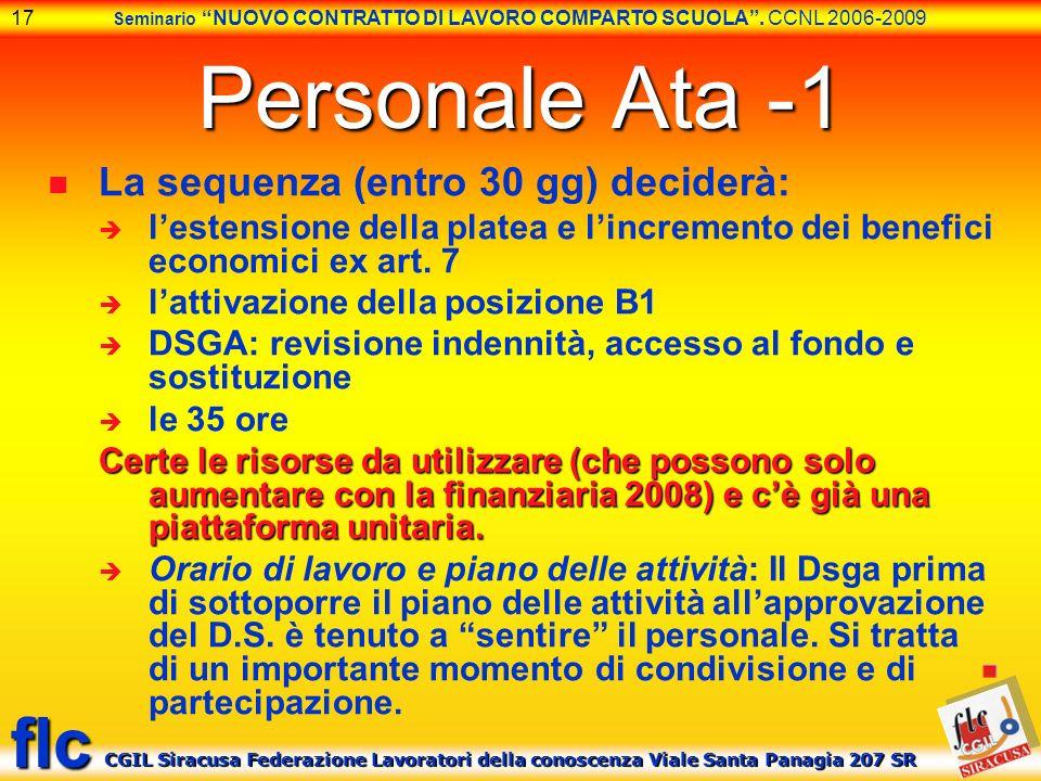 Personale Ata -1 La sequenza (entro 30 gg) deciderà: