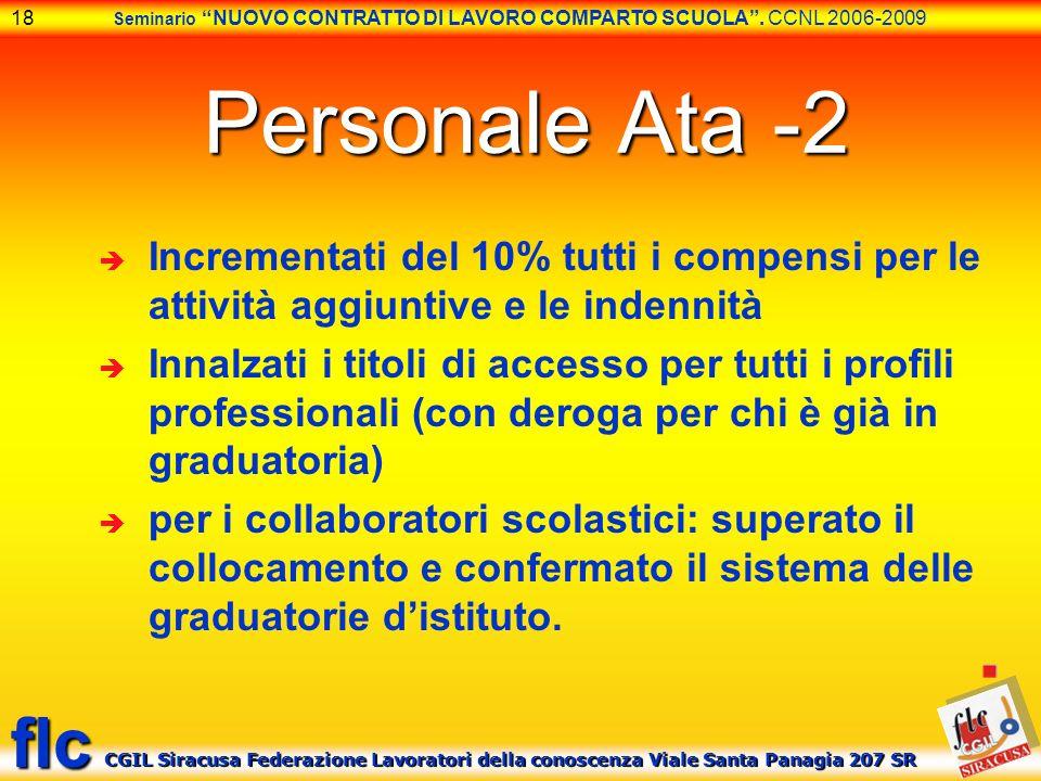 Personale Ata -2 Incrementati del 10% tutti i compensi per le attività aggiuntive e le indennità.