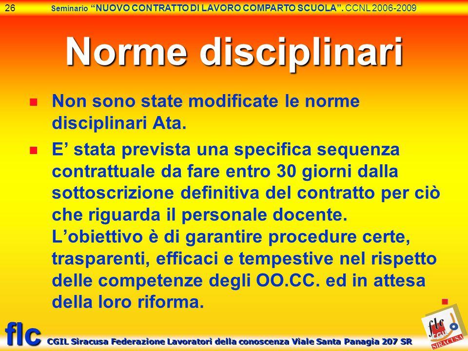 Norme disciplinari Non sono state modificate le norme disciplinari Ata.