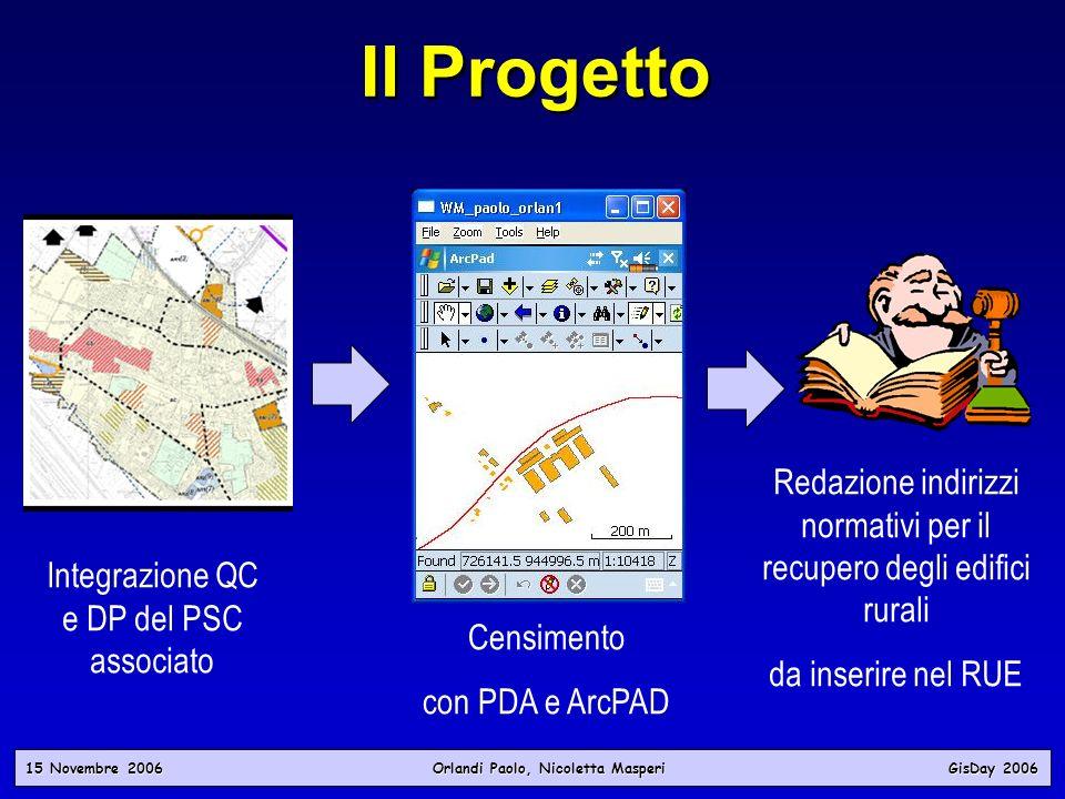 Il ProgettoCensimento. con PDA e ArcPAD. Integrazione QC e DP del PSC associato. Redazione indirizzi normativi per il recupero degli edifici rurali.