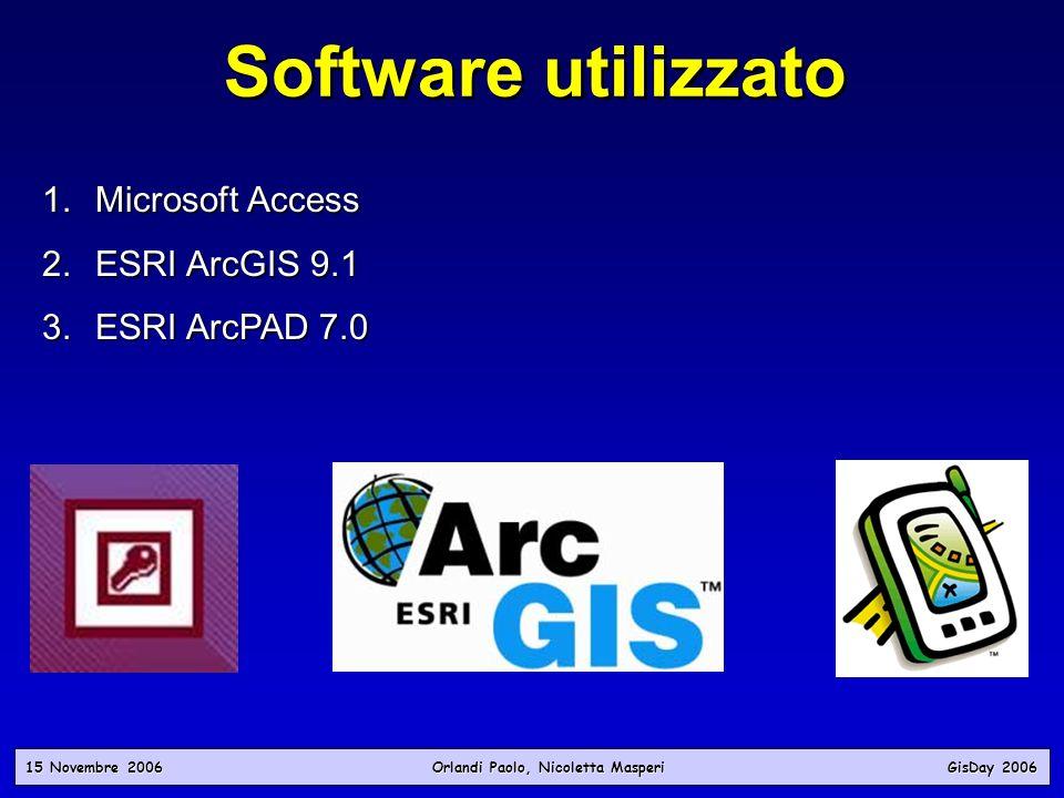 Software utilizzato Microsoft Access ESRI ArcGIS 9.1 ESRI ArcPAD 7.0