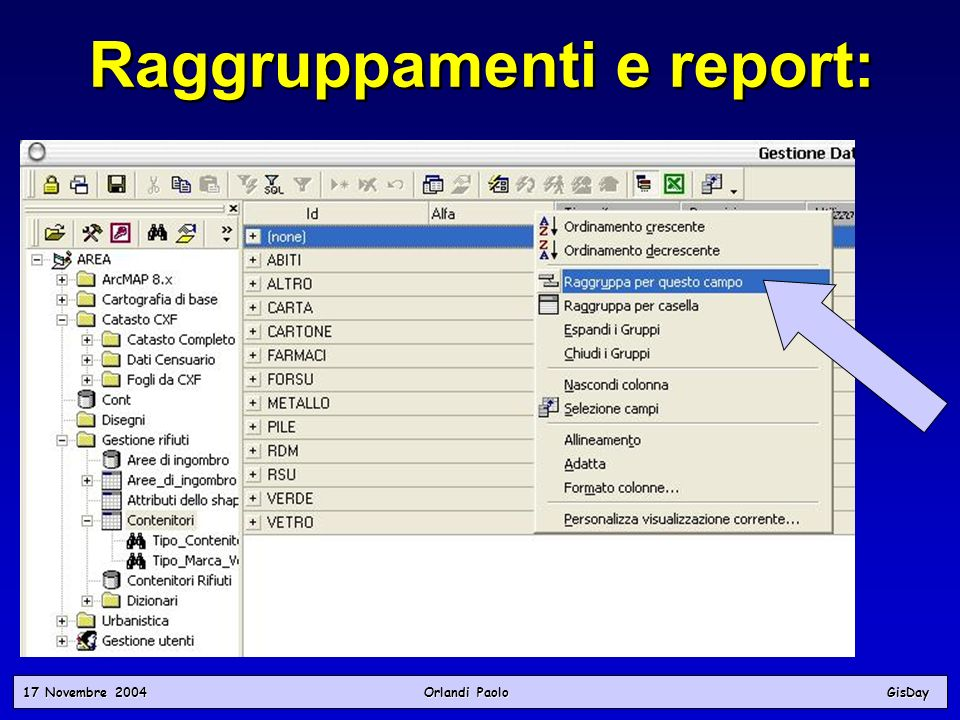 Raggruppamenti e report: