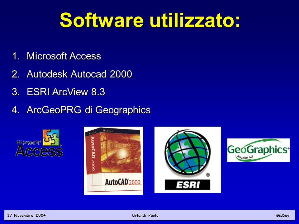 Software utilizzato: Microsoft Access Autodesk Autocad 2000