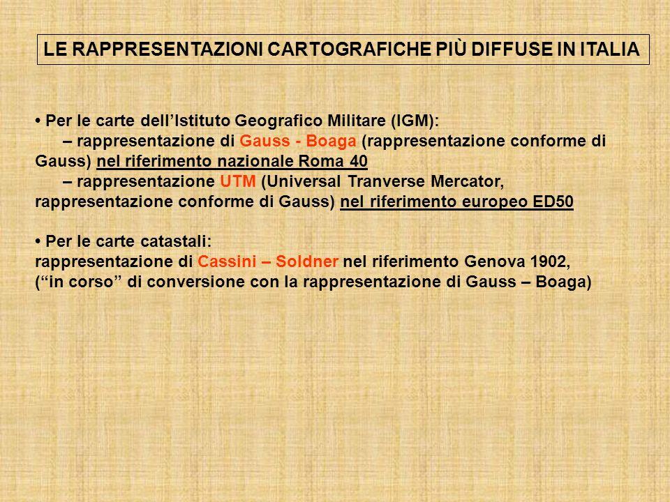 LE RAPPRESENTAZIONI CARTOGRAFICHE PIÙ DIFFUSE IN ITALIA