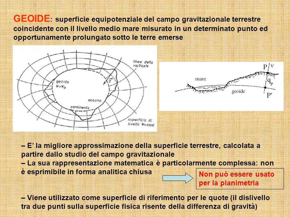 GEOIDE: superficie equipotenziale del campo gravitazionale terrestre coincidente con il livello medio mare misurato in un determinato punto ed opportunamente prolungato sotto le terre emerse