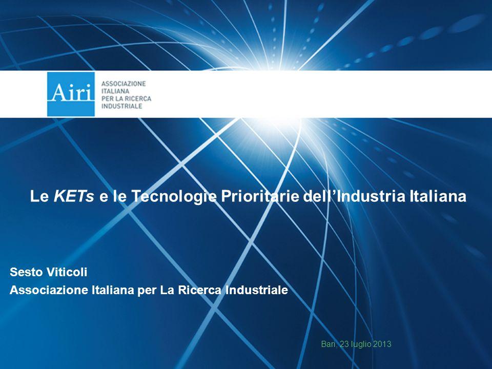 Le KETs e le Tecnologie Prioritarie dell'Industria Italiana