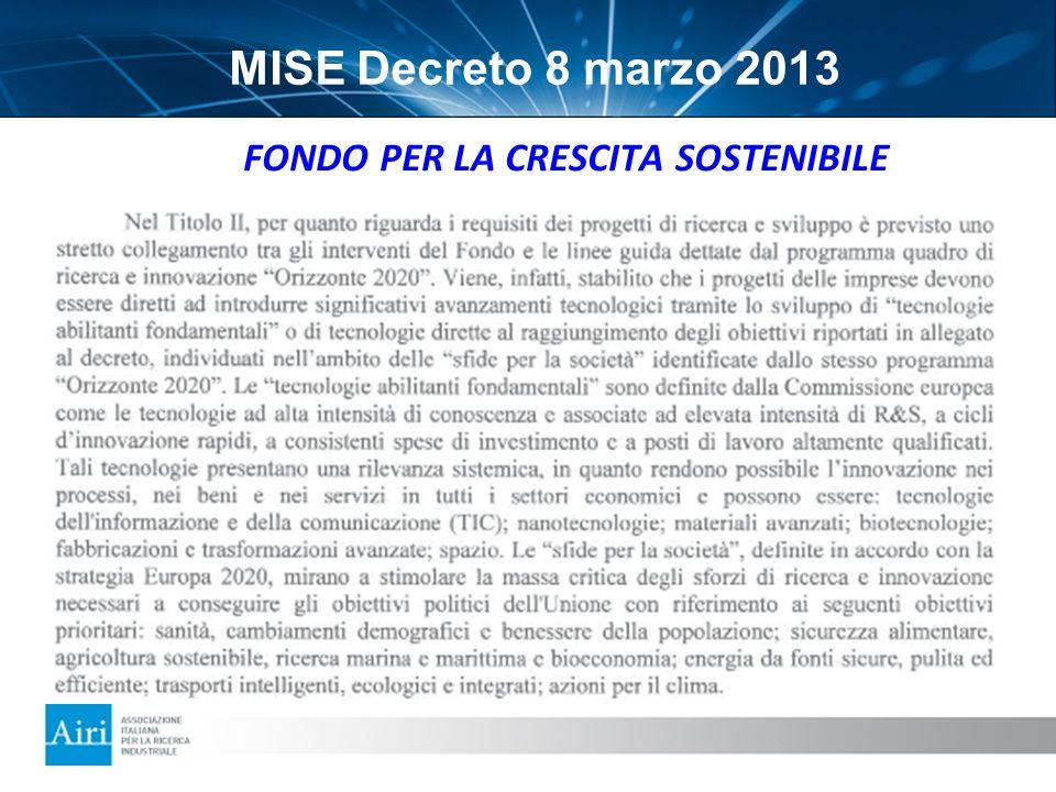 MISE Decreto 8 marzo 2013 FONDO PER LA CRESCITA SOSTENIBILE