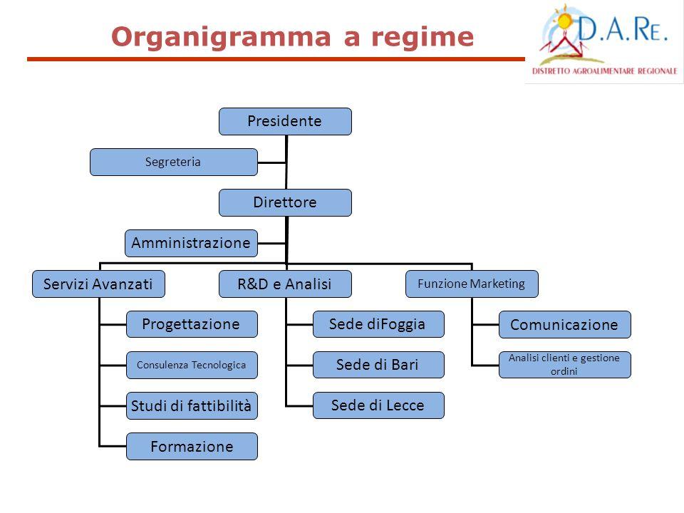 Organigramma a regime Presidente Direttore Servizi Avanzati